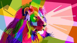 Превью обои лев, арт, красочный, морда