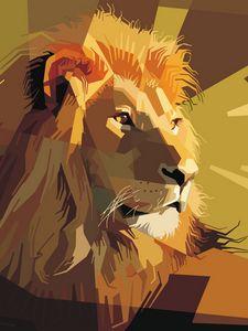 Превью обои лев, арт, вектор, линии, полосы