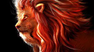 Превью обои лев, большая кошка, арт, хищник, царь зверей