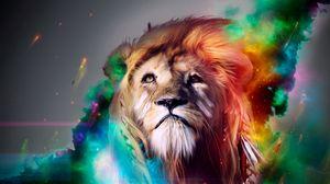 Превью обои лев, большая кошка, морда, дым, разноцветный