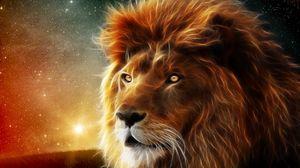 Превью обои лев, морда, грива, царь зверей, абстракция