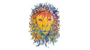 Превью обои лев, рисунок, красочный, король, царь зверей