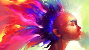 Превью обои лицо, волосы, краска, разноцветный, абстракция
