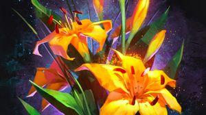 Превью обои лилии, букет, цветы, желтый