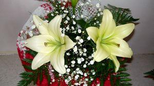 Превью обои лилии, гипсофил, папоротник, букет, оформление