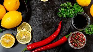 Превью обои лимон, дольки, цитрус, перец, петрушка, кулинария