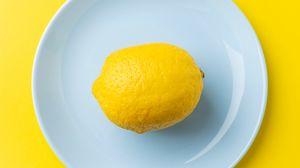 Превью обои лимон, фрукт, цитрус, желтый, минимализм