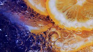 Превью обои лимон, лед, вода, макро
