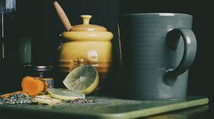 Превью обои лимон, мед, джем, чаепитие