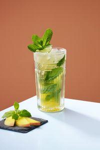 Превью обои лимонад, мята, стакан, минимализм