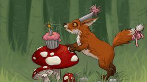 Превью обои лиса, грибы, кекс, день рождения, арт