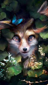 Превью обои лиса, милый, арт, бабочка, листья