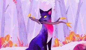 Превью обои лиса, палка, осень, арт, фиолетовый
