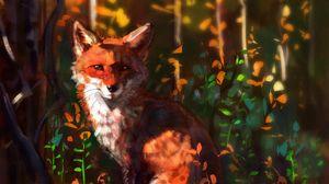 Превью обои лиса, взгляд, арт, животное, дикая природа