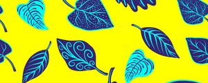 Превью обои листья, арт, желтый, фиолетовый, формы