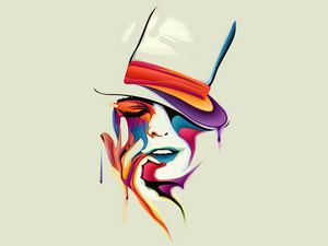 Превью обои лицо, рисунок, краски, цвета, силуэт