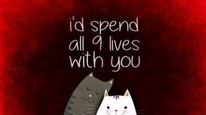 Превью обои любовь, надпись, признание, романтика, коты, открытка