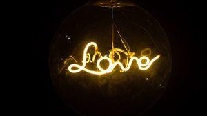 Превью обои любовь, неон, лампа, надпись, слово