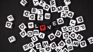 Превью обои любовь, слова, кубик, надпись