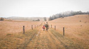 Превью обои люди, тропинка, прогулка, дорога, поле