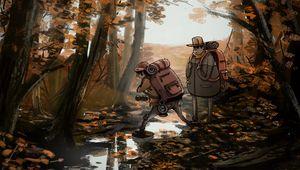 Превью обои люди, поход, лес, природа, осень, арт