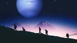 Превью обои люди, силуэты, горы, планета, космос