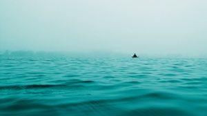 Превью обои лодка, море, одиночество, уединение