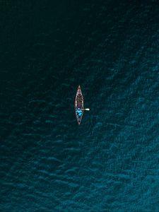Превью обои лодка, море, вид сверху, вода