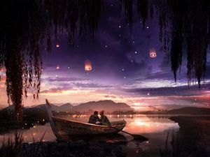 Превью обои лодка, пара, звезды, ночь, романтика, арт