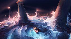 Превью обои лодка, шторм, маяки, море, арт