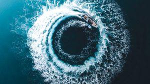 Превью обои лодка, след, вид сверху, круг
