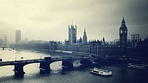 Превью обои лондон, би бен, london, big ben, вечер, река, здания, вид сверху, чб
