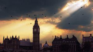 Превью обои london, big ben, лондон, биг бен, закат, тень, небо