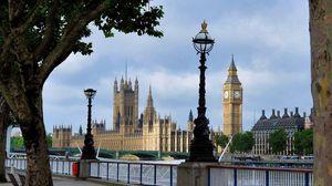 Превью обои лондон, часы, сквер, берег