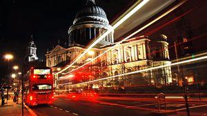 Превью обои лондон, город, автобус, ночь