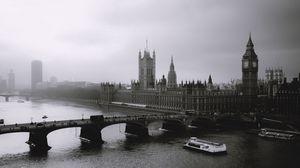 Превью обои london, лондон, туман, река, мост, биг бен, big ben, чб