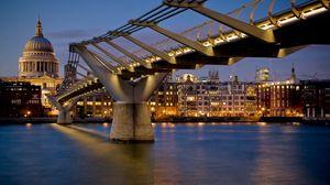 Превью обои лондон, мост, здания, ночь