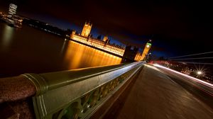 Превью обои лондон, ночь, мост, река, биг бен