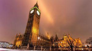 Превью обои лондон, огни города, здания, вечер, улица, дорога