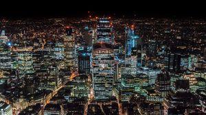 Превью обои лондон, великобритания, небоскребы, вид сверху, ночной город