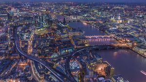 Превью обои лондон, великобритания, ночной город, вид сверху