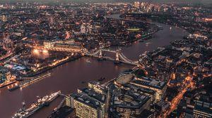 Превью обои лондон, великобритания, огни города, мост, вид сверху