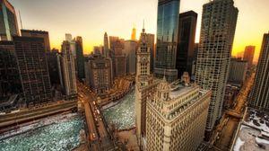 Превью обои лондон, вид сверху, здания, часы, мост, река, hdr