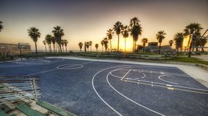 Превью обои лос-анджелес, калифорния, закат, стадион, спорт, сша