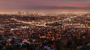 Превью обои лос-анджелес, ночь, вид сверху, город