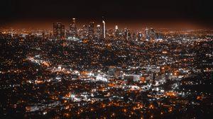 Превью обои лос-анджелес, сша, ночной город, вид сверху
