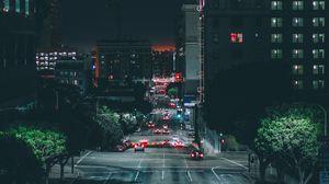 Превью обои лос-анджелес, ночной город, дорога, движение
