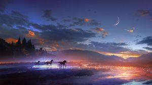 Превью обои лошади, арт, ночь, блеск