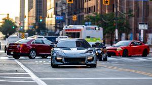 Превью обои lotus, автомобиль, серый, дорога