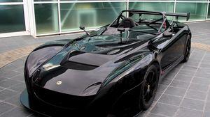 Превью обои lotus, черный, авто, вид спереди, кабриолет, спорткар